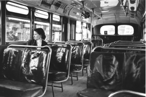 Montgomery Bus Boycott, photo shows a solitary white passenger, 1955.