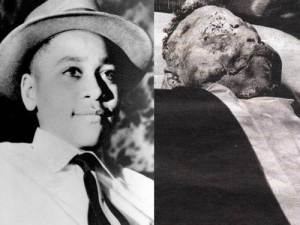 The open casket of Emmett Till, 1955.