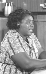 Fannie Lou Hamer giving her  testimony before the Credentials  Committee of the Democratic  National Convention in Atlantic  City, N.J., on August 22, 1964.
