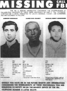 Missing Freedom Summer Students, 1964.