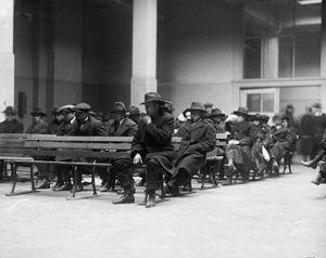 Awaiting deportation, Elise Island, 1920.