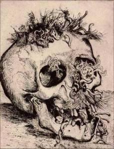 """""""Skull,"""" Otto Dix, 1924."""
