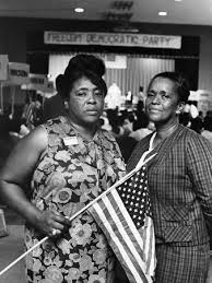 Fannie Lou Hamer and Ella Jo Baker, 1964 MFDP convention.